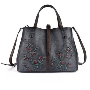 Oberlo Women - Bags - Leather-Crossbody-Shoulder-Hand Bag Black-grey Floral Embossed Shoulder Handbag
