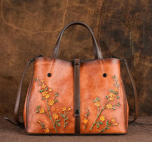 Oberlo Women - Bags - Leather-Crossbody-Shoulder-Hand Bag Floral Embossed Shoulder Handbag