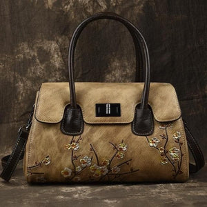 Oberlo Women - Bags - Leather-Crossbody-Shoulder-Hand Bag Brown Handmade Embossing Leather Luxury Handbag