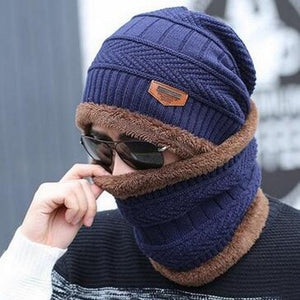 Oberlo Hats-Beanie-Scarf-Knitted navy blue / One Size Protection Scarf Beanie Set