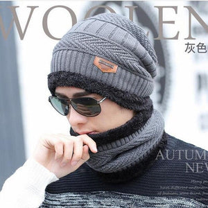 Oberlo Hats-Beanie-Scarf-Knitted Protection Scarf Beanie Set