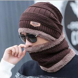 Oberlo Hats-Beanie-Scarf-Knitted coffee / One Size Protection Scarf Beanie Set