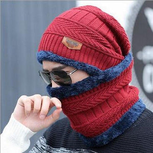Oberlo Hats-Beanie-Scarf-Knitted dark red / One Size Protection Scarf Beanie Set