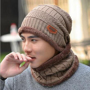 Oberlo Hats-Beanie-Scarf-Knitted khaki / One Size Protection Scarf Beanie Set