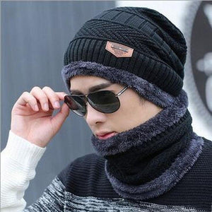 Oberlo Hats-Beanie-Scarf-Knitted black / One Size Protection Scarf Beanie Set