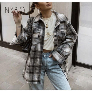 Silver Sam Jackets & Coats Long Sleeve Turn Down Collar Plaid Shirt