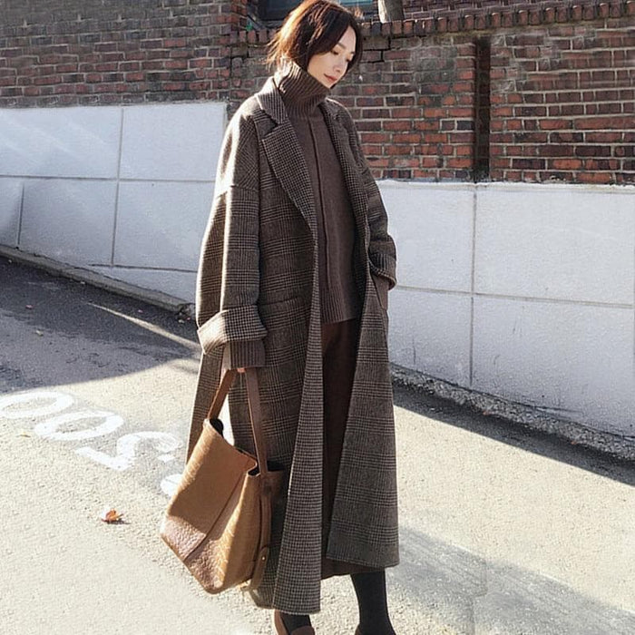 Warm Plaid Long Woollen Coat
