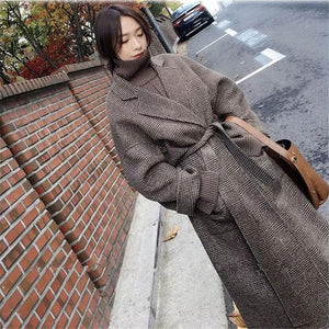 Warm Plaid Long Woollen Coat - Sensationally Fabulous