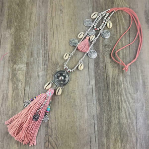 Boho Shell Tassel Pendant Rope Necklace - Sensationally Fabulous