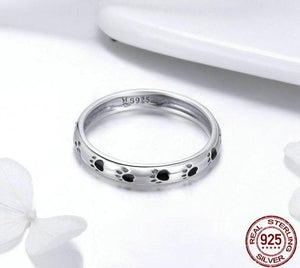 eprolo Jewellery & Watches:Fashion Jewellery:Rings 925 Sterling Silver Paw Prints Ring