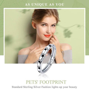 Sterling Silver Paw Prints Band Ring - Sensationally Fabulous