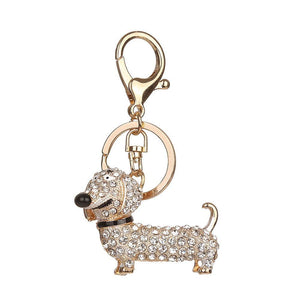 eprolo Key Chain White Rhinestone Dog Dachshund Key Chain