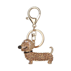 eprolo Key Chain Gold Rhinestone Dog Dachshund Key Chain