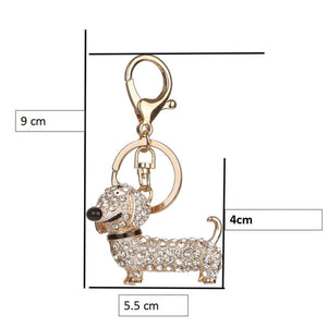 eprolo Key Chain Rhinestone Dog Dachshund Key Chain