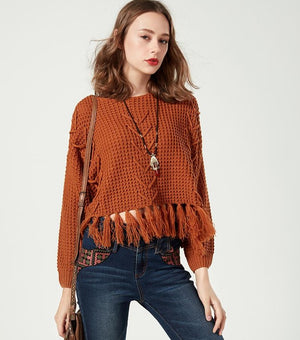 eprolo Clothing, Shoes & Accessories:Women:Women's Clothing:Tops Knitted Pullover Tassel Sweater