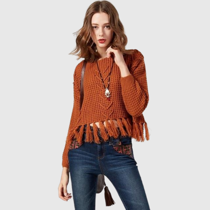 Knitted Pullover Tassel Sweater
