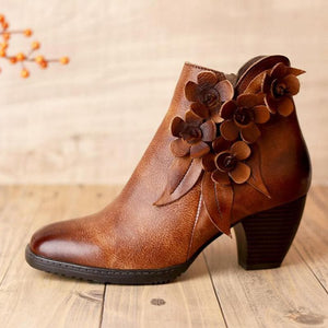 Oberlo Women's Fashion - Women's Shoes - Women's Boots Leather Round Toe Handmade Ankle Boots
