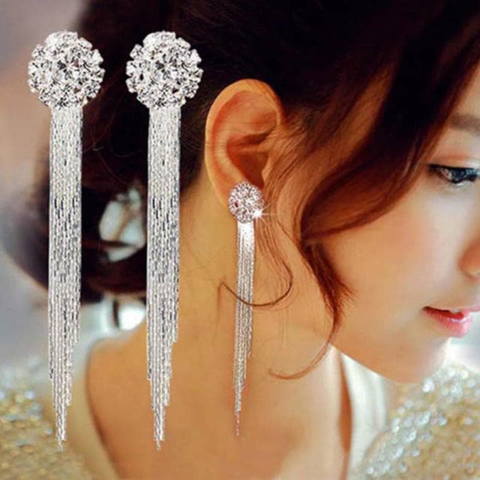 Long Crystal Tassel Dangle Earrings