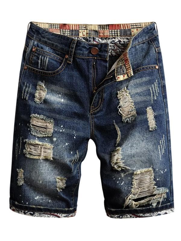 Ripped Streetwear Denim Shorts
