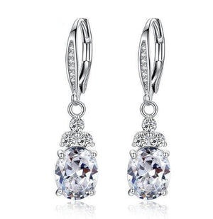 eprolo Women - Jewelry - Earrings White Oval Gemstones Zircon Drop Earrings