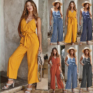 Striped Sash Summer Long Jumpsuit - Sensationally Fabulous