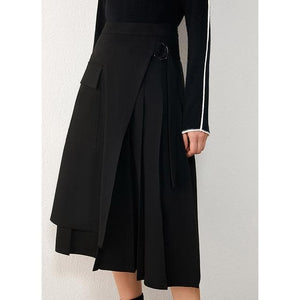 Sensationally Fabulous black / XL High Waist Pleated Aline Calf-length Skirt