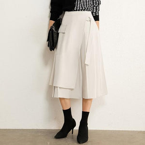 Sensationally Fabulous beige / S High Waist Pleated Aline Calf-length Skirt