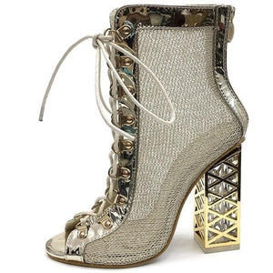 Golden Lace-up Ankle Boots - Sensationally Fabulous
