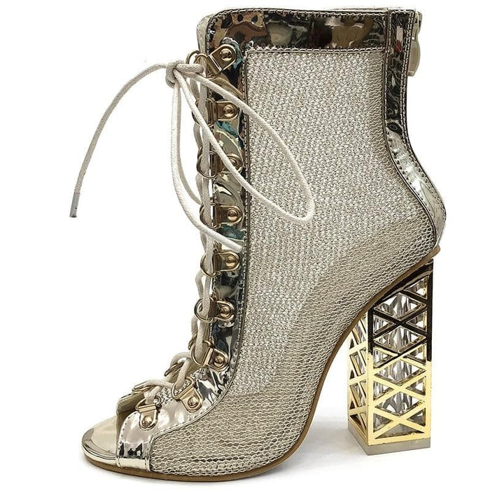 Golden Lace-up Ankle Boots