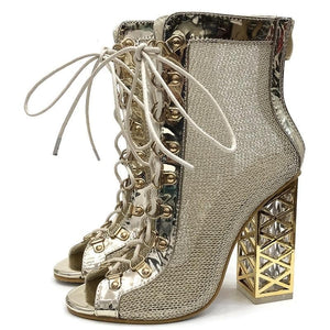 Sensationally Fabulous Golden Lace-up Ankle Boots