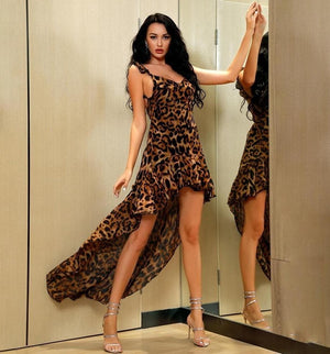 Sensationally Fabulous Leopard Chiffon Astemical Hem Summer Dress