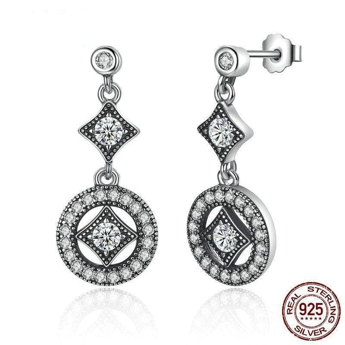 Silver Classic Round Drop Earrings