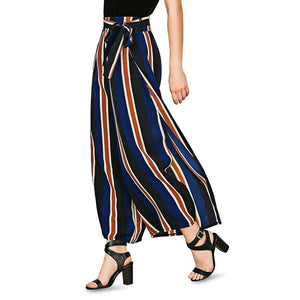 Striped Wide Leg Slit Pants - Sensationally Fabulous