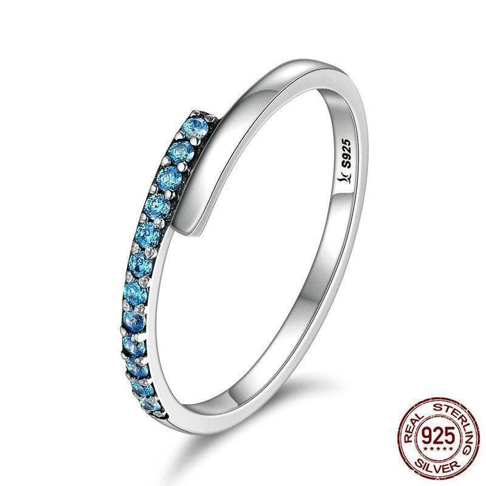 Sterling Silver Blue CZ Band Ring