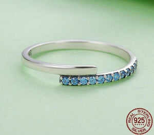 Sterling Silver Blue CZ Band Ring - Sensationally Fabulous