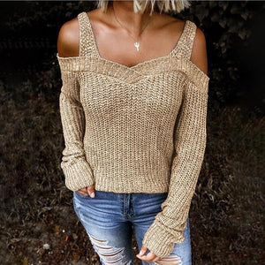 Silver Sam Sweaters & Hoodies Knitted Off Shoulder Shoulder Strap Sweater