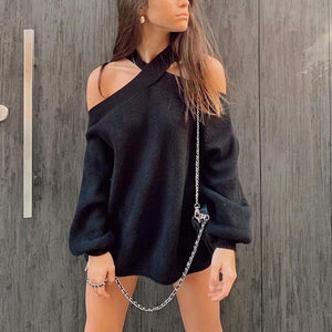 Silver Sam Sweaters & Hoodies Oversize Cross Halter Sweater