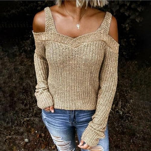Silver Sam Sweaters & Hoodies L / Khaki Knitted Off Shoulder Shoulder Strap Sweater