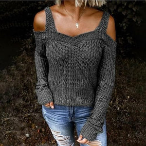 Silver Sam Sweaters & Hoodies L / Dark Gray Knitted Off Shoulder Shoulder Strap Sweater