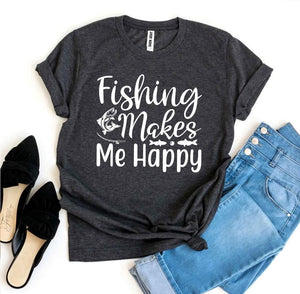 Agate T-shirts Fishing Makes Me Happy Letter T-Shirt