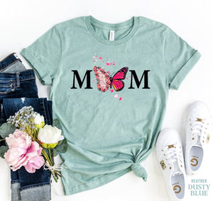 Agate T-shirts Mom Letter Butterfly T-Shirt