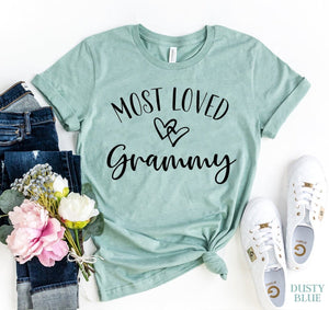 Most Loved Grammy Printed Letter T-Shirt - Sensationally Fabulous