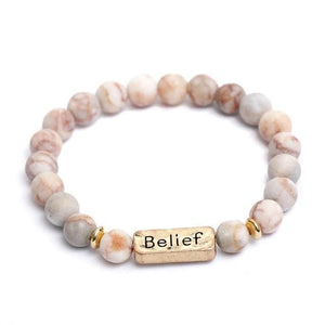 Oberlo Unisex-Jewellery-Bracelets-Necklace Belief 2 Sister, Brother, Hope Letter Beaded Rope Bracelet