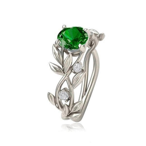 eprolo Jewellery & Watches:Fashion Jewellery:Rings 6 / green Vine Leaf Clear Stone Ring