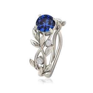 eprolo Jewellery & Watches:Fashion Jewellery:Rings 6 / blue Vine Leaf Clear Stone Ring