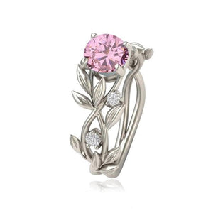 eprolo Jewellery & Watches:Fashion Jewellery:Rings 6 / pink Vine Leaf Clear Stone Ring