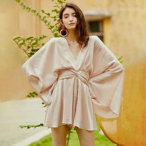 eprolo Clothing, Shoes & Accessories:Women:Women's Clothing:Dresses Champagne / S Vintage Bowknot Kimono Sleeve Tunic Dress