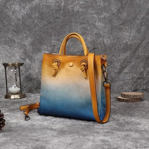 eprolo Women - Bags - Leather-Crossbody-Shoulder-Hand Bag Blue Vintage Leather Shoulder Bucket Handbag