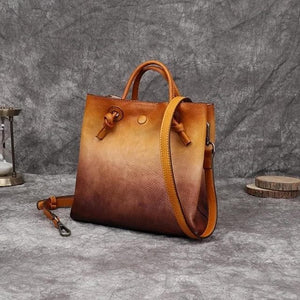eprolo Women - Bags - Leather-Crossbody-Shoulder-Hand Bag yellow brown Vintage Leather Shoulder Bucket Handbag