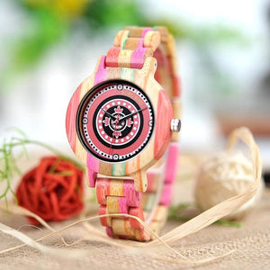 Women's Pink Rainbow Wooden Quartz Watch - Sensationally Fabulous